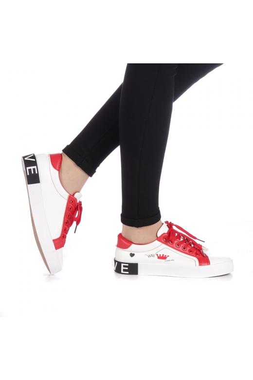 Pantofi sport dama Ribolia albi cu rosu