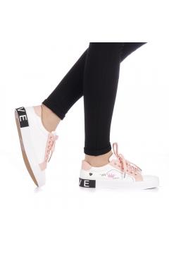 Pantofi sport dama Ribolia albi cu roz