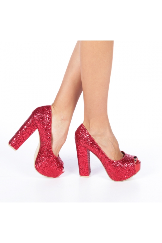Pantofi cu toc dama Dryna rosii