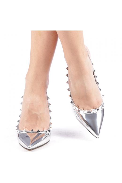 Pantofi cu toc dama Zarita argintii