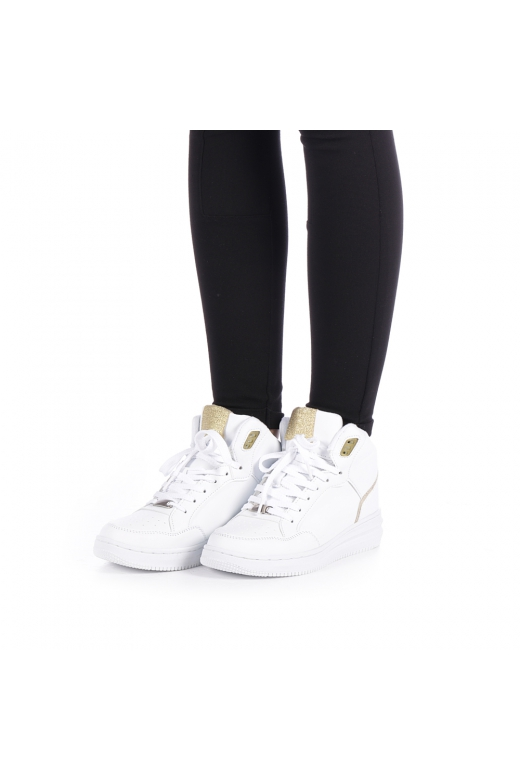 Pantofi sport dama Rania albi cu auriu