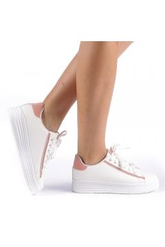Pantofi sport Petrina alb cu roz