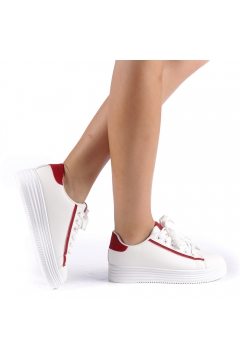 Pantofi sport Petrina alb cu rosu