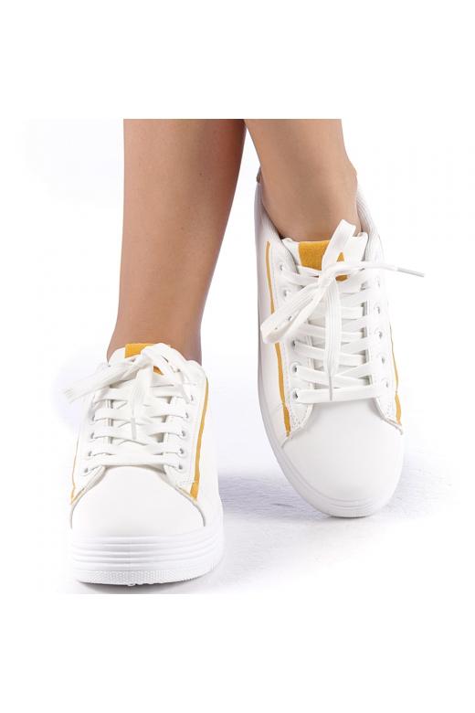 Pantofi sport Petrina alb cu galben
