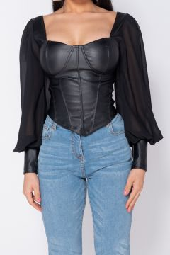 Corset Sheer Black Bogas