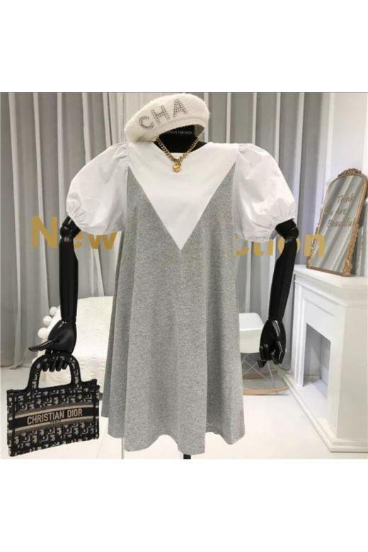Rochie de Zi Pamfy White Gray Bogas