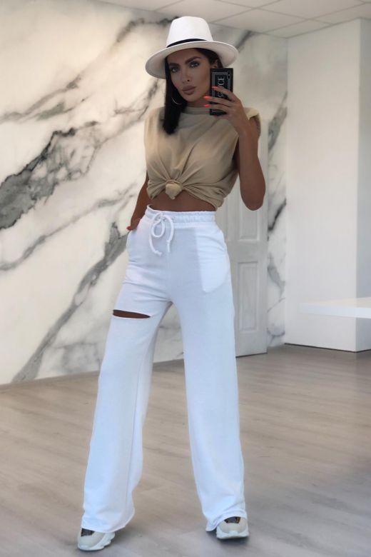 Pantaloni Fentsza White Bogas