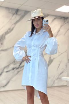 Rochie Camasa Titled White Bogas